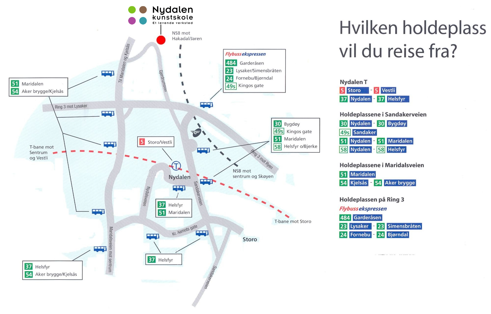Nydalen Kunstskole veibeskrivelse kart buss
